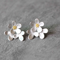 Cluster Flower Earrings, Sterling Silver Flower Stud Earrings, Floral Earrings, Blossom Earrings, Silver Studs, Flower Jewelry, gift for her