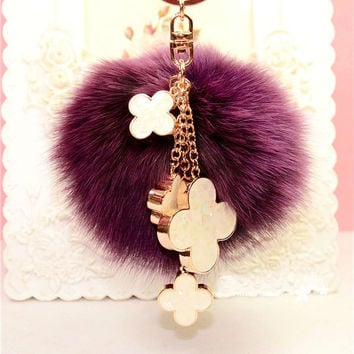 Fur Pom Pom Fluffy Genuine Fox Fur Ball Keychain Fur Four Leaf Clover Key Chain Key Ring Fur Bag Charm Women Bag Accessories