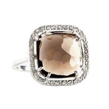 Suzanne Kalan Sterling Silver 12mm Cushion-Cut Smokey Quartz Filigree Bezel Ladies' Ring
