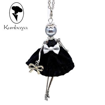 Hot Sale!! Cute Yarn Cloth Bowknot Dress Doll Necklace Women Jewelry stores Christmas Gifts Jewelry Accessories Top-rated NS059