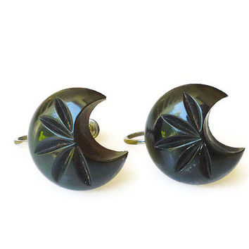 Bakelite Earrings Half Moon Carved Dark Green Black Early Plastic Vintage Jewelry