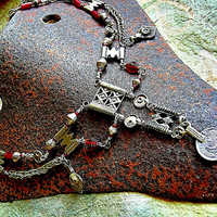 Tribal Style Necklace, Red African Glass, Ethnic Metals, Boho Gypsy, Bellydance Glam