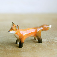 Animal Totem Red Fox, fox totem tiny figurine, orange home decor, tiny pocket zoo, orange and grey