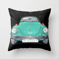 Old  Beetle. Vintage Volkswagen Throw Pillow by Guido Montañés