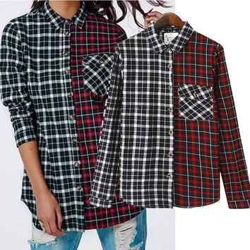 Plaid Pointed Flat Collar Long Sleeve Blouse