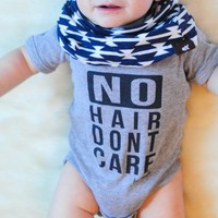 """No Hair Dont Care"" Funny Baby Onesuit"