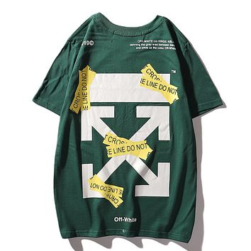 Off White Fashion New Summer Cross Arrow Letter Print Women Men T-Shirt Top Green