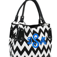 Leather Like Personalized Monogram Embroidered Chevron Handbag, Purse, Bucket Black