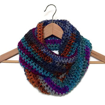 Unisex Crochet Infinity Scarf in Handmade,Unisex Lightweight double loop circle infinity scarf,The HEMPSTINGDALE, multicolored scarf,