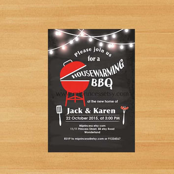 Housewarming Invitation New house Housewarming BBQ gathering party Invitation, wood Backyard, Barbecue - card 596