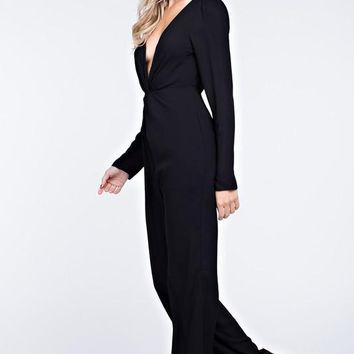 Deep V Twisted Front Long Sleeve Jumpsuit