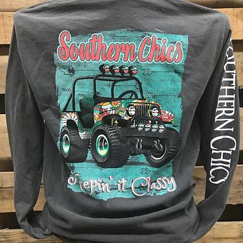 Southern Chics Keeping It Classy Jeep Comfort Colors Bright Long Sleeve T Shirt
