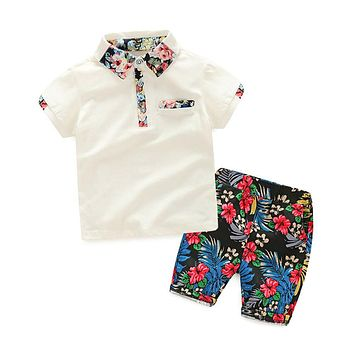 Boy summer clothing set boy clothes kids short sleeves print shirt+flower short 2pcs suits children clothing