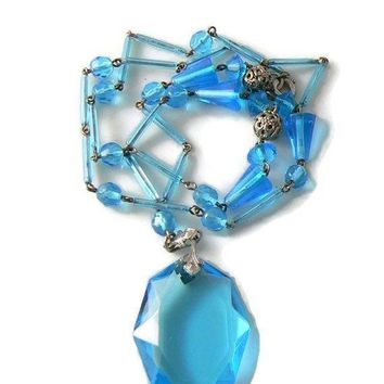 Spectacular Aqua Blue Art Deco Czech Art Glass Necklace