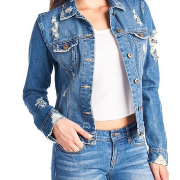 DENIM DESTROYED JACKET