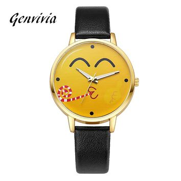 Neutral Cute Expression Fashion Leather Quartz Wrist Watch design leather watch 2017 fashion leisure quartz lovely watch