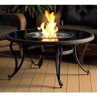 The Outdoor GreatRoom Company 42-Inch Glass Fire Pit Table, Black