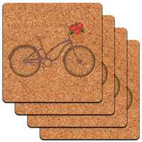 Bicycle Bike With Basket of Flowers Low Profile Cork Coaster Set