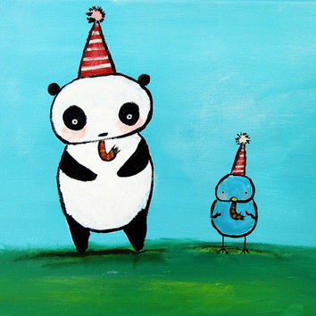 Panda Painting, Kids Wall Art, Nursery Decor