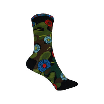 Flower Camo Crew Socks in Black