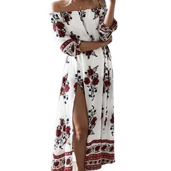 Floral Print Women Autumn Long Boho Dress 2017 Summer Casual Half Sleeve Slash Neck Loose Chiffon Boho Maxi Dress Plus Size**