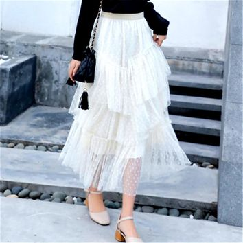 2019 Summer Fashion Vintage Skirts Womens Elastic High Waist Tulle Mesh Skirt Long Layered Tutu Skirt Female Jupe Longue