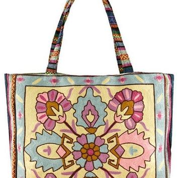 Embroidered Woven Large Tote Bag