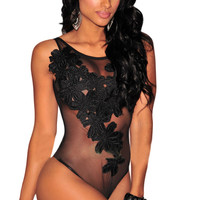 Bodysuit Women Jumpsuit Sexy Rompers Floral Embroidered Sheer Mesh Overalls Bodysuit Sexy Playsuit Plus Size SM6