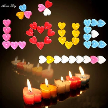 50pcs/lot Heart Shaped Candle Smokeless Tea Light assorted Color Coffee Warmer Light Heating Wedding Decoration Free Shipping