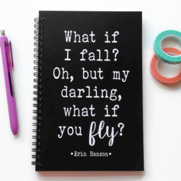 Writing journal, spiral notebook, bullet journal, black white, sketchbook, blank lined grid - What if I fall, but my darling what if you fly