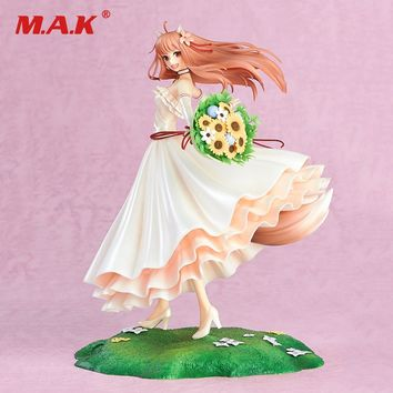 24CM Japanese Anime Spice and Wolf 10th Anniversary Wedding Dress Version Cute Holo Anime Action Figure PVC Model Toys