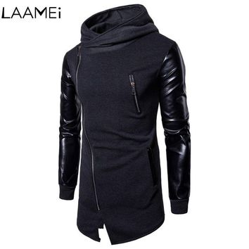 Laamei Hoodie Sweatshirt Men's Stitching PU Leather Male Cardigan Sleeves Slim Zipper Irregular 2018 New Casual Long Sweatshirt