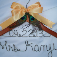 2 lines - Custom peacock wedding dress hanger / bridal hanger / Mother of the bride hanger / bridesmaid gift - with peacock theme bow