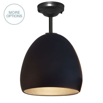 Porcelain Ceramic Matte Black Clay Pendant Light- Downrod
