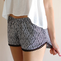 Black & White Tribal Beach Lounge Shorts w/ Dot Trimming
