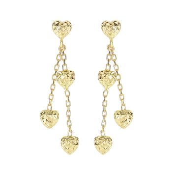 14K Yellow Gold Diamond Cut 5.1X35mm Puffed Heart Post with 3-Hanging Puffed Heart On Double Strand Cable Chain Drop Earring with Push Back Clasp