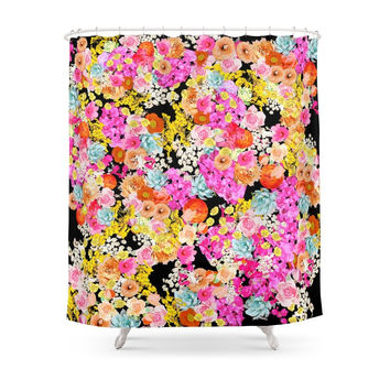 Society6 Bright Summer Vintage Inspired Floral Print Shower Curtain