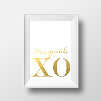 Beyonce Gold Foil Print Love You Like XO Song Lyrics Yonce Flawless Inspirational Quote Digital Download Printable Poster