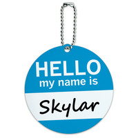 Skylar Hello My Name Is Round ID Card Luggage Tag