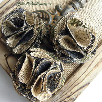Handmade Camo or Natural Burlap Flowers, beautiful for your wedding bouquets, accents, guestbooks ect..
