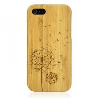 Hand Carved Bamboo iPhone 5 Case -Dandelion