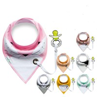 Multi-function Cotton bibs with Pacifier Unique Cartoon Triangle