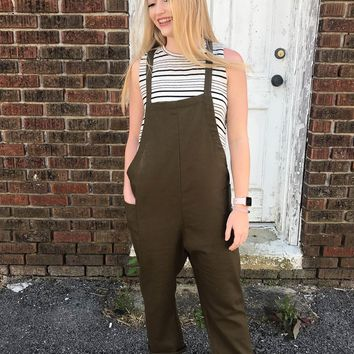 Uptown Girl Classy Olive Jumpsuit
