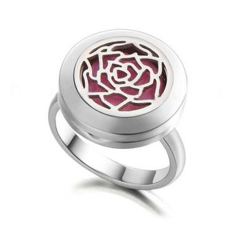 Stainless Steel Aromatherapy Essential Oil Diffuser Ring With Free 3-color Cotton Pads Diffuser Jewelry For Women Family Tree