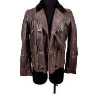 Brown Leather Jacket Size:S