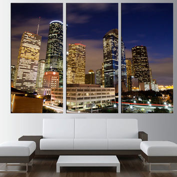 LARGE canvas print, wrapped stretched Downtown Houston skyline at night canvas Art, large wall art, fine art wall art print canvas t180