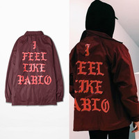 Hip Hop I Feel Like Pablo YEEZUS Men Jacket Kanye West Jacket Yeezy streetwear Waterproof Windbreaker Coat Veste Homme AMD322