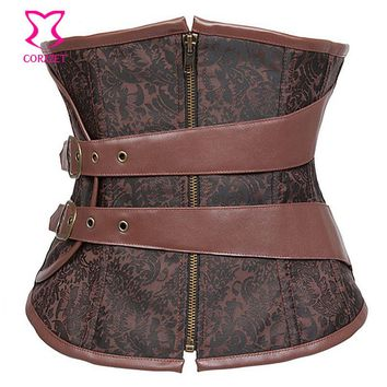 Brown Steel Boned Waist Slimming Underbust Corset Steampunk Corsets Zipper Waist Trainer With Leather Faux Belt Bustier Corpetes