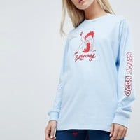 Lazy Oaf X Betty Boop Long Sleeve T-Shirt With Sleeve Print at asos.com