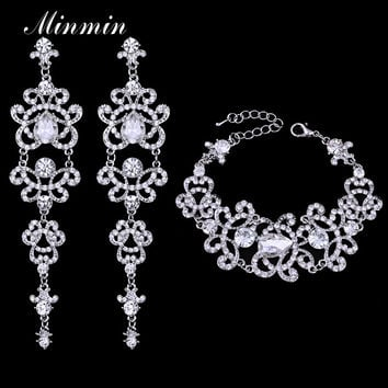 Minmin Crystal Bridal Jewelry Sets Butterfly Bracelet Earrings Sets Wedding African Beads Jewelry Set for Women EH166+SL032